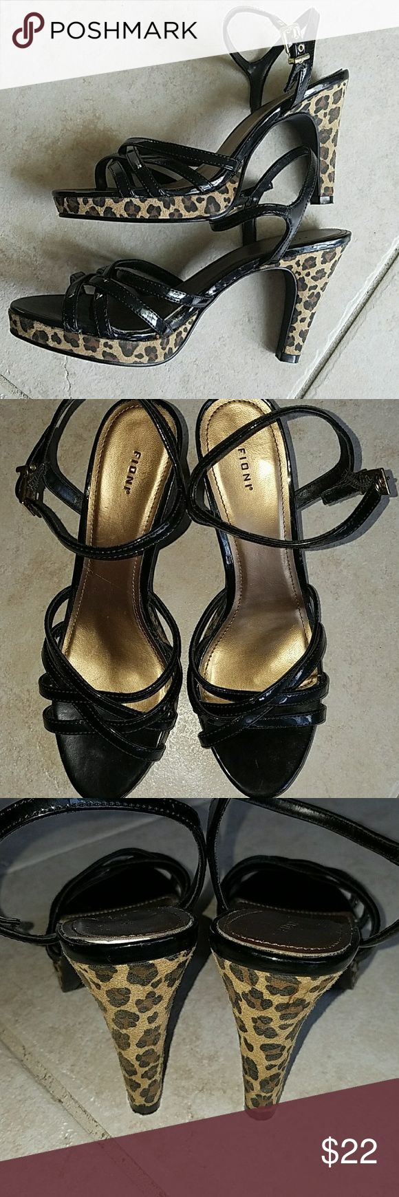 Fioni black patent & animal print heels Cute Fioni strappy heels in black patent with animal print heel and trim. These are in great condition.  **Bundle and Save** Fioni Shoes Heels