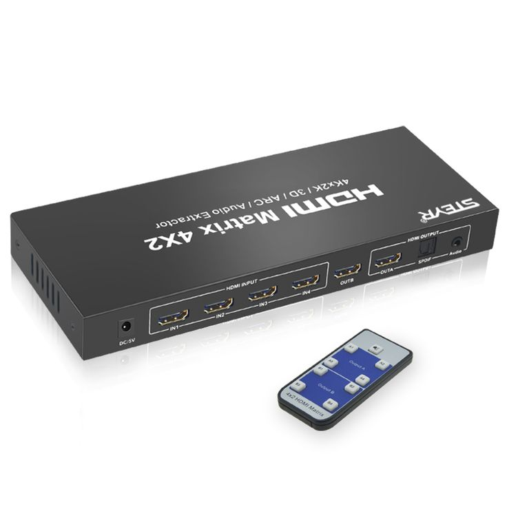 HDMI Splitter Switch 4 In 2 Out 1.4 Matrix 4x2 Support 1080P/Full 3D/4K*2K with Optical,3.5mm Audio Output,IR Remote STEYR