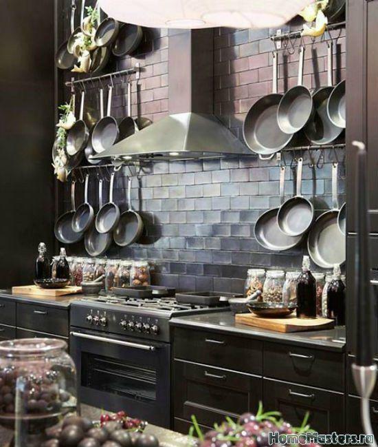 Лофт со сковородками   Дизайн интерьера кухни   Фотогалерея ремонта и дизайна   Школа ремонта. Ремонт своими руками. Советы профессионалов
