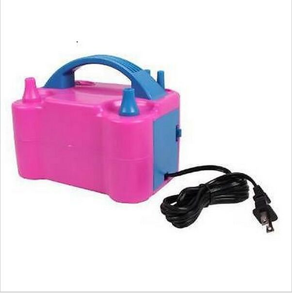 Electric Balloon Inflator Pump Portable High Power Color Air Blower Two Nozzle