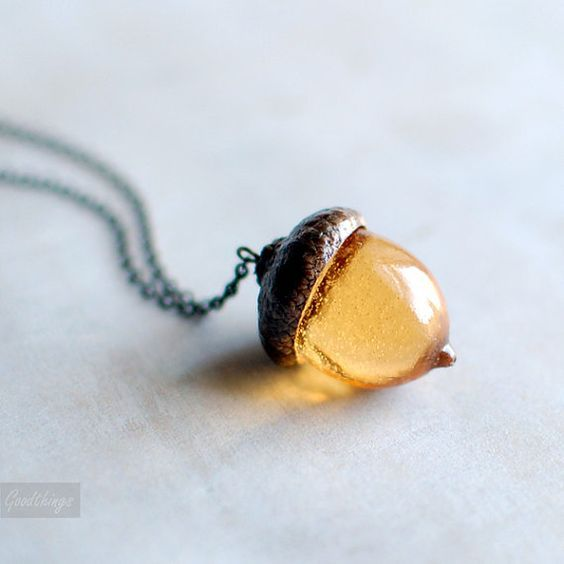 What a pretty layering piece this would be. amber acorn necklace on Etsy.: