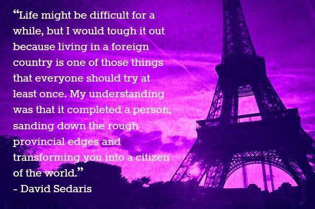 david sedaris essay france Before reading us and them personal essay by david sedaris what's really normal key idea imagine a town where everyone dyes his or her hair purple.