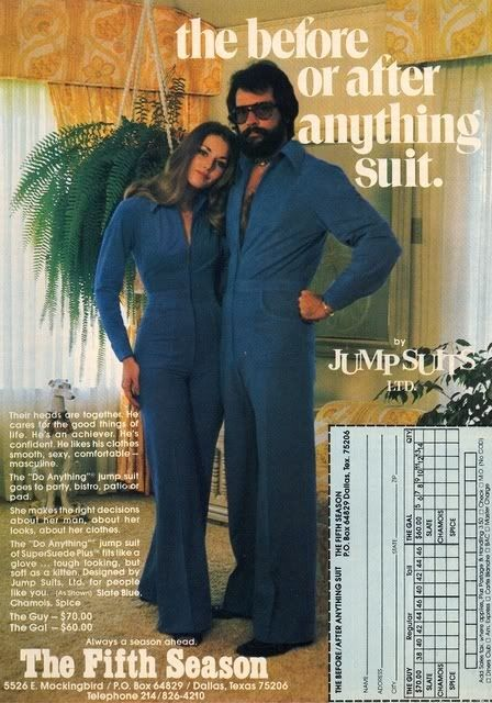 11 Outfits Of The '70s With Perfectly Reasonable Explanations..This couple runs an auto repair shop that doubles as a disco at night. Day-to-night fashion, baby.