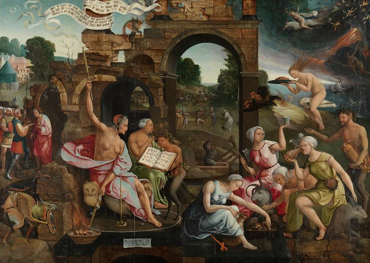 Saul and the Witch of Endor // 1526 // Jacob Cornelisz van Oostsanen // Fearing the outcome of a battle, Saul, king of the Israelites, consulted the fortune-telling witch of Endor. On hearing that he would lose, the king threw himself on his sword. His suicide – in the middle background – is a warning against witchcraft. In the foreground is a Witches' Sabbath: the fortune-teller sits within a chalk circle, surrounded by other witches, satyrs and imaginary figures.