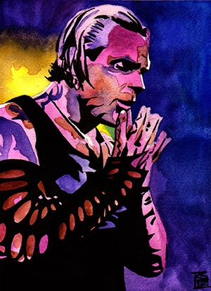 """Jeff Hardy l Ink and watercolor on 9"""" x 12"""" watercolor paper"""
