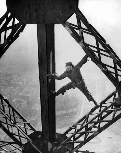"""historicaltimes: """" Worker Painting the Eiffel Tower """""""