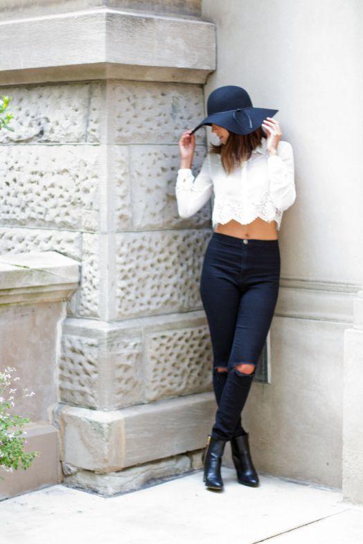 boho chic || black floppy hat, lace crop top || @sicilianswede