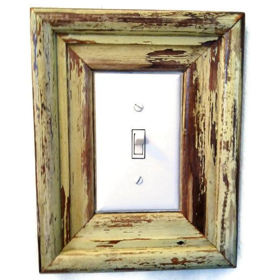 CUSTOM Reclaimed Wood Frame, Light Switch Cover, New Orleans Salvage Moulding. $29.00, via Etsy.