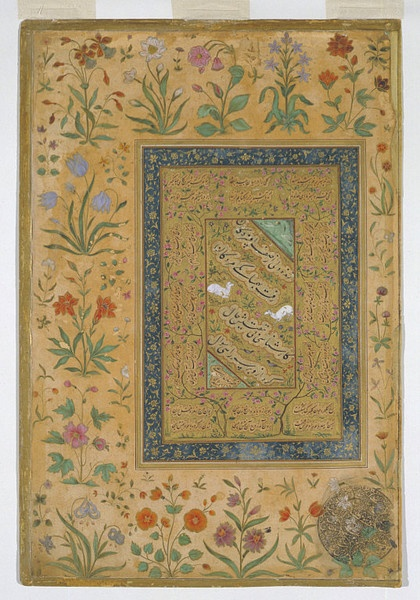 Calligraphic page Place of origin: India (made) Pakistan (made) Date: 17th century (painted) Artist/Maker: Sultan 'Ali al-Mashhadi (calligrapher) Materials and Techniques: Ink, opaque watercolour and gold on paper Credit Line: Bequeathed by Lady Wantage