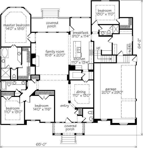 Large Kitchen Layout Plans: Formal Dining, Walk-in Pantry With