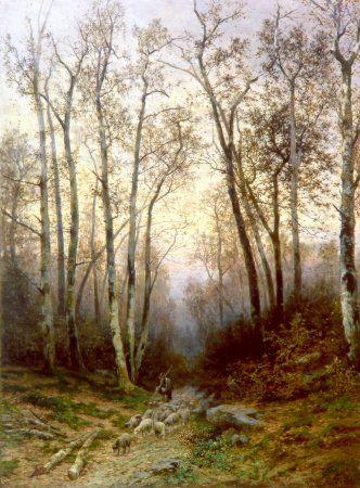 Julius Mařák - Return from the pasture (1889) #RomanticRealism #painting #art #Czechia