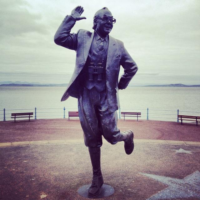 The Eric Morecambe statue on Morecambe Promenade.