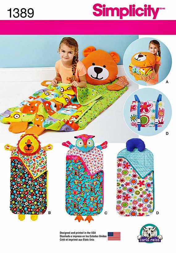 Childs' Nap Pack Pattern, Kids' Animal Sleeping Bag Pattern, Toddlers' Nap Pack…
