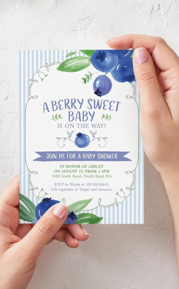Blueberry Boy Baby Shower Invitation Printable File – Berry Sweet Baby Shower Invitation Editable Template