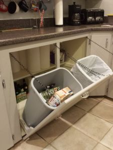 Tilt-out trash and recycling bins - Wooden Rope -