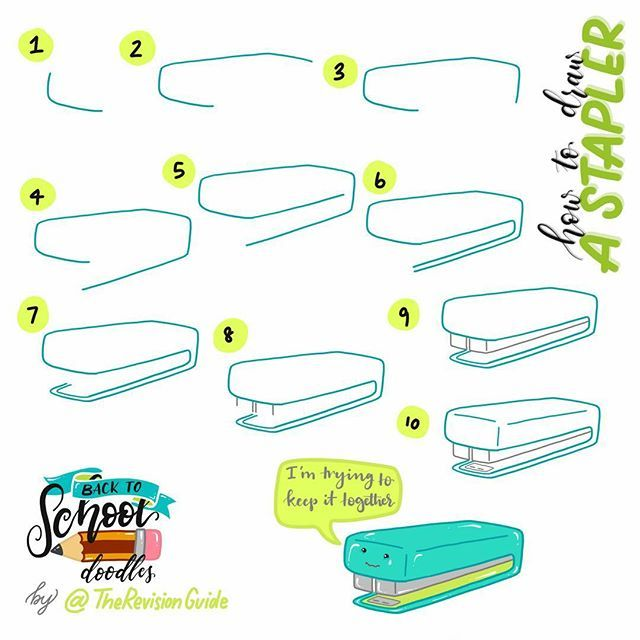 WEBSTA @ therevisionguide - A stapler for #TRG_Back2School ... Drawing steps for…