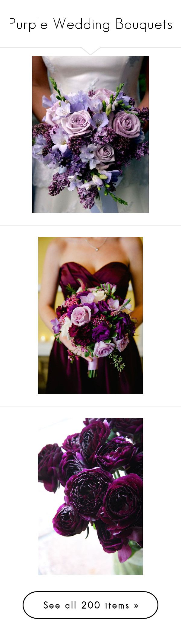 """""""Purple Wedding Bouquets"""" by the-student-bride ❤ liked on Polyvore featuring wedding, purplebouquet, home, home decor, accessories, floral decor, fake flower bouquets, silk flowers, fake silk flowers and purple calla lily bouquet"""