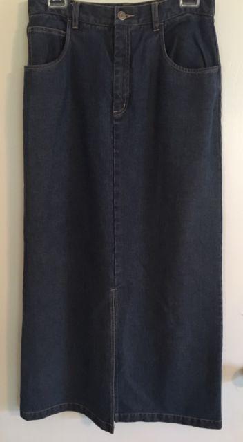TELLURIDE CLOTHING CO. Womens Maxi Skirt Size 8 Denim Front Slit   eBay