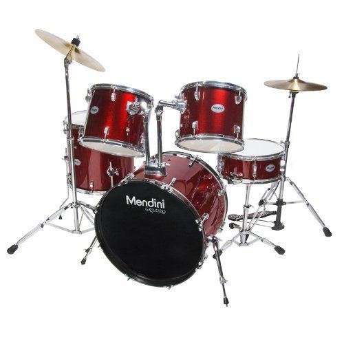 Mendini MDS100-BR Complete Full Size Senior 5-Piece Bright Red Drum Set with Cymbals, Drumsticks and Throne by Mendini. $305.97. Mendini by Cecilio MDS100 5-piece senior drum set is a complete functional drum set designed for adult/full size drummers. Assembly Required.. Save 62% Off!