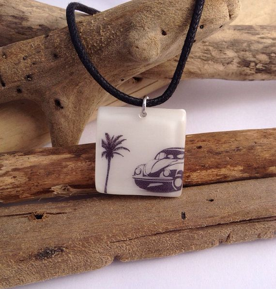 VW beetle eco-resin pendant with vegan cord and magnetic clasp.