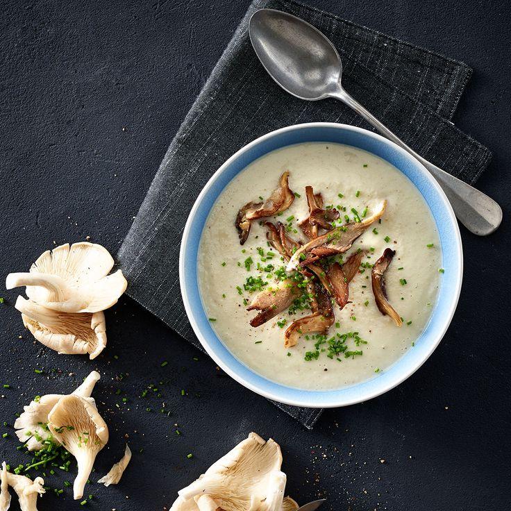 Svampesuppe med blomkål og purløg