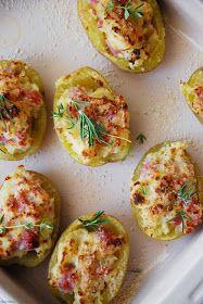 Patatas rellenas, jamón, queso, gratinadas