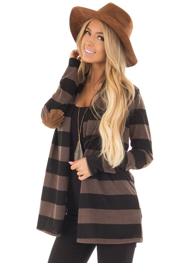 Mocha and Black Thick Striped Cardigan with Elbow Patches