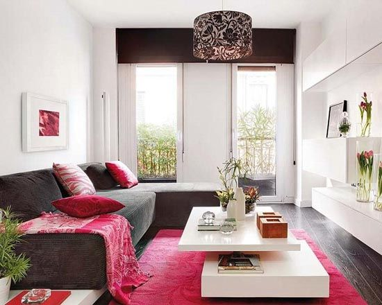 feminine living room design ideas relatively small space gray sofa hot pink accents white tables girly lamp stylish small apartment