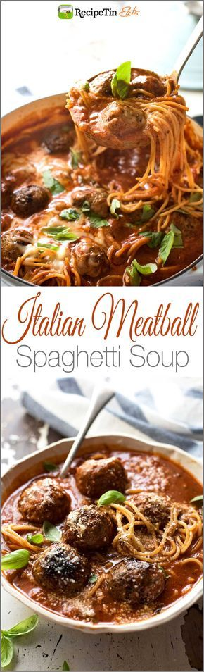 23/100 #newrecipe Italian Meatball Soup - Extra juicy, soft & tasty meatballs in a tomato spaghetti soup, all made in one pot!
