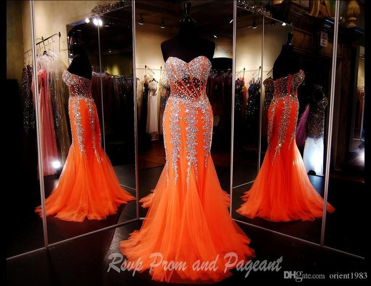 Sparking Mermaid Orange Corset Bodice Sheer Prom Dresses Beads Crystals Trumpet Sweetheart Formal Evening Dress Gown Affordable Cheap Girl Online with $136.65/Piece on Orient1983's Store | DHgate.com