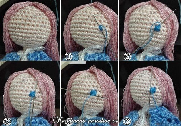 Как вышить глазки куколке амигуруми (2)