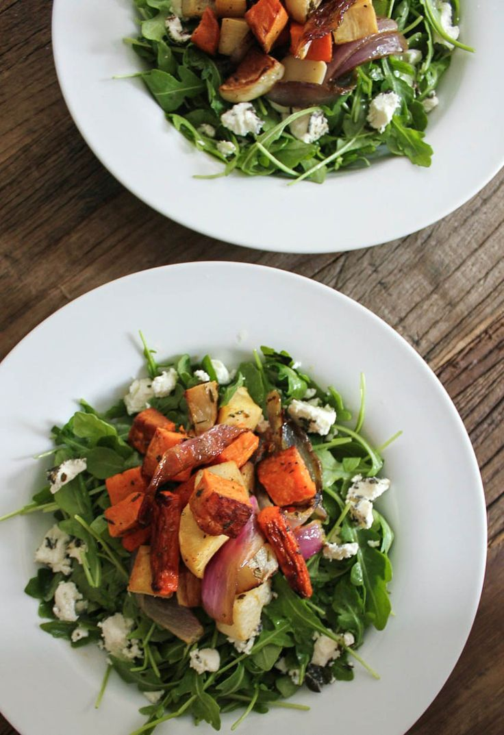Roasted Root Vegetable Salad with Herbed Goat Cheese. Healthy and satisfying fall comfort food!