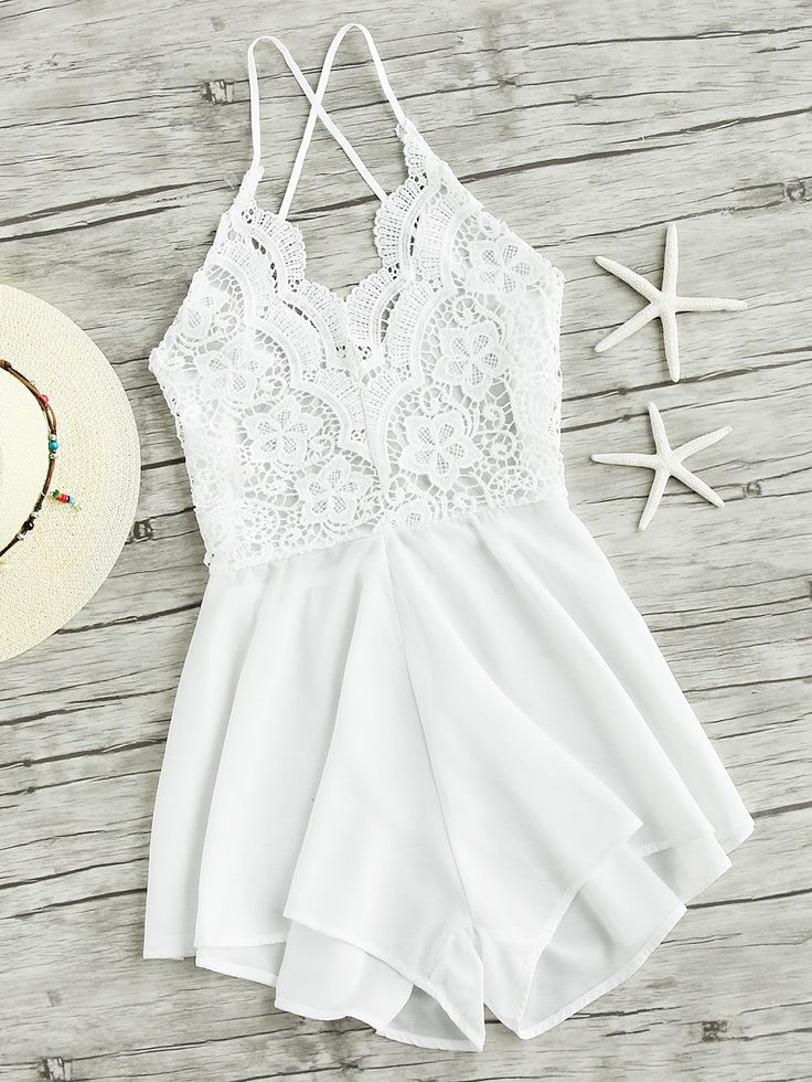 Shop Lace Panel Criss Cross Backless Romper online. SheIn offers Lace Panel Criss Cross Backless Romper & more to fit your fashionable needs.