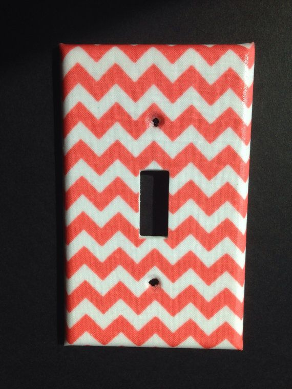 Coral chevron striped single light switch by COUTURELIGHTPLATES, $4.95 nursery, bedroom decor, bathroom decor , shabby chic, teen room decor