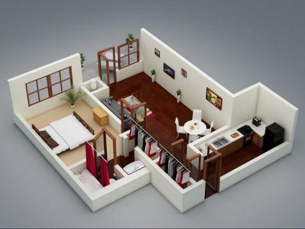50 plans en 3d d appartement avec 1 chambres maison pinterest plan gratuit 3d et appartements. Black Bedroom Furniture Sets. Home Design Ideas