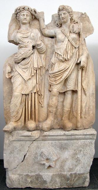 Caria: Andreia crowning Aphrodite.    Aphrodisias Museum, Geyre