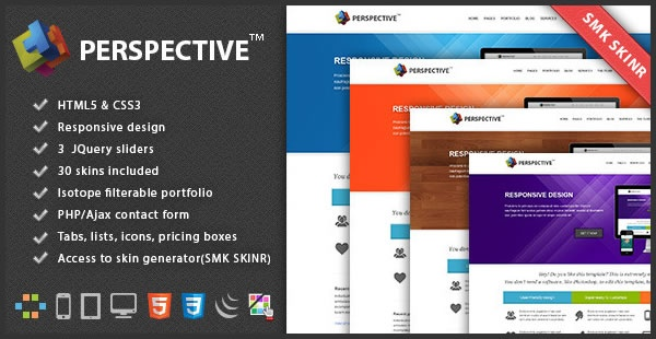 """""""Perspective"""" is a template suitable for all type of business. It comes with a lot of HTML Shortcodes, jquery plugins (tabs, accordion, sliders…) and with ability to edit the design very easy. Changing only a few lines of code you can give a new look to your template. Modern design with HTML5 and CSS3 power inside! It is compatible with all major browsers, so don't worry is cross-browser and also responsive, this means that the content will be visible and readable on all devices starting…"""
