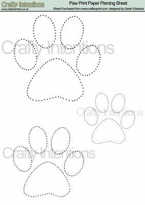 Paw Print Paper Piercing Pattern on Craftsuprint designed by Sarah Edwards - A lovely paw print design in three sizes - Now available for download!