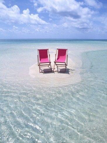 Folding Chairs on an Australian Beach Photographic Print