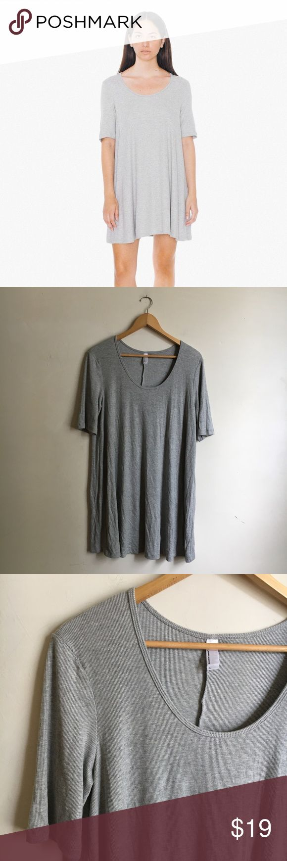 American Apparel 2x2 Ribbed T-Shirt Dress Large American Apparel 2x2 rib t-shirt dress in grey! Size large. Excellent condition- I love it but I'm too tall to be comfortable wearing it! NO TRY ONS, but I will gladly provide measurements if needed! American Apparel Dresses Mini
