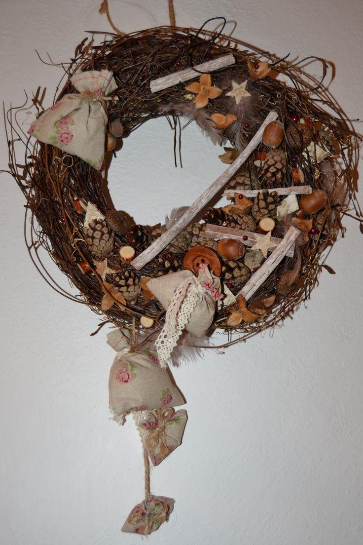 Věnec na dveře - Vánoce na chalupě