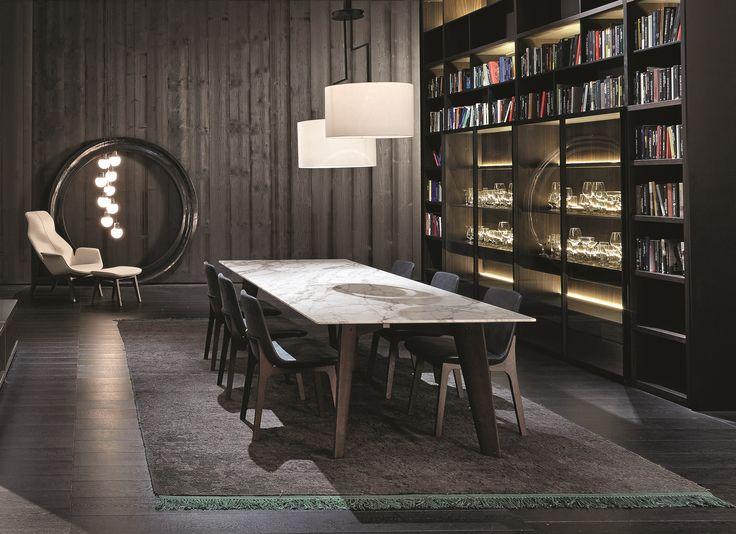 Poliform|Varenna _ Wall System composition; Howard table; Ventura chairs; Bristol sideboard.