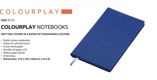 A5 Colour Play Notebook Colour Play Notebook Stylish Colour Notebook Italian PU Soft Feel Cover Cream Lined Paper Number of Pages : 232 Ribbon Page Marker Brand by Embossing  Dimensions : 210 × 130 × 20 (L x W x D) Navy Colour