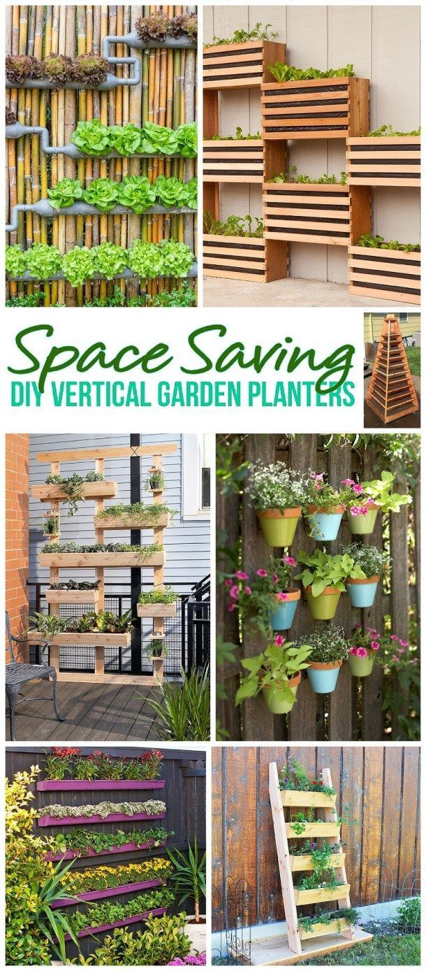 DIY Spring and Summer Outdoor Projects for the Weekend! The BEST DIY Space Saving Vertical Garden Planters - Tutorials and How To Projects for your Home via Dreaming in DIY