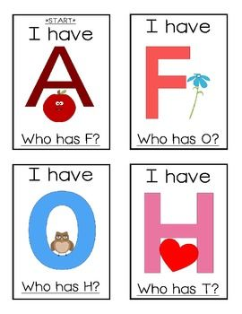 FREE I Have..., Who Has...? alphabet game from KindergartenSquared