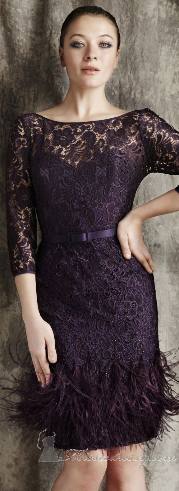 Elegant cocktail dress by Theia #plum #lace #feather <3 lovely color!
