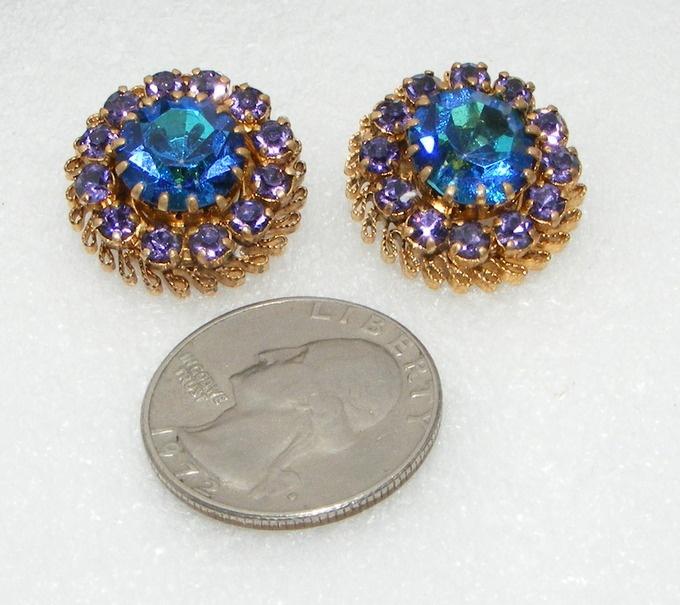 Vintage Made in AUSTRIA Purple & blue Rhinestone EARRINGS clip ons costume | eBay SOLD