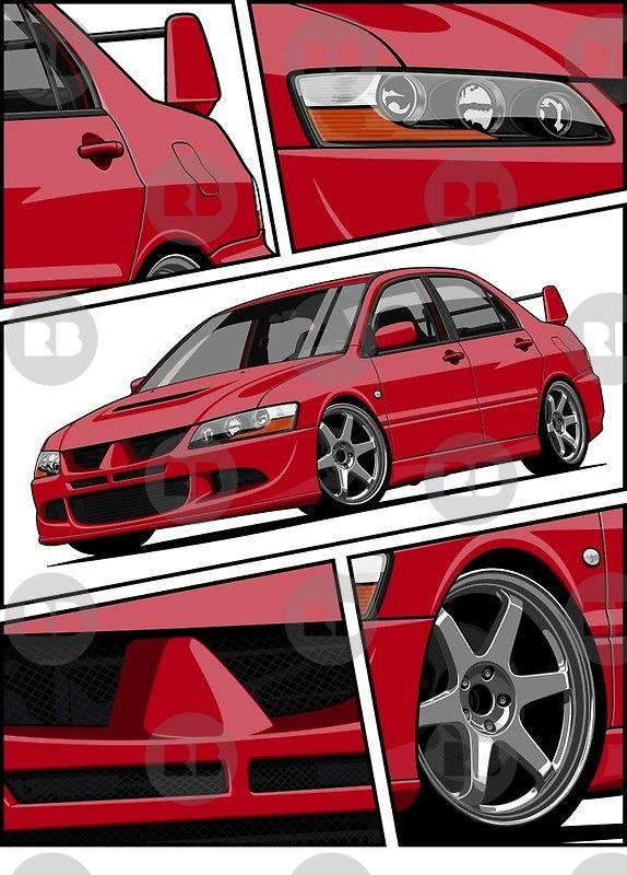 Lancer Evolution Viii Red Poster By Olegmarkaryan Mitsubishi Lancer Evolution Mitsubishi Lancer Mitsubishi Evolution