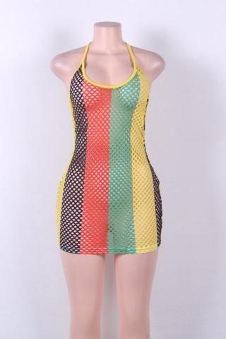 Rasta Fashion Fishnet Halter Dress In 2018 Dresses Pinterest Mesh And