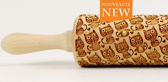 CATS No. 4  Embossing rolling pin Engraved rolling pin Funny cats
